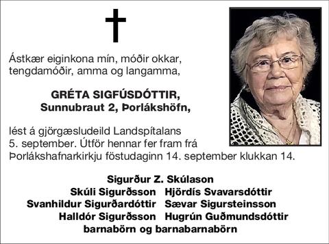 Gréta Sigfúsdóttir,