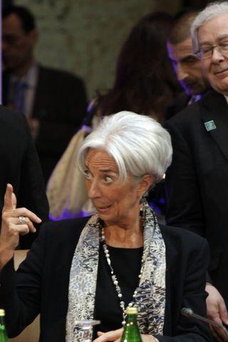 Mervyn King ásamt Christine Lagarde forstjóra AGS
