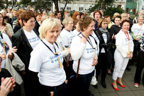 Midwives and their supporters at a public demonstration meeting in Austurvöllur last month.