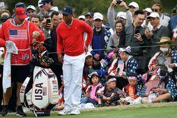 Áhorfendur í Melbourne fylgjast spenntir með Tiger Woods undirbúa högg á mótinu.