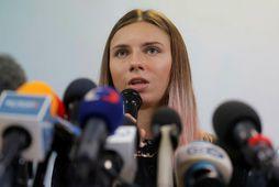 Krystina Timanovskaya á blaðamannafundi í Varsjá í dag.