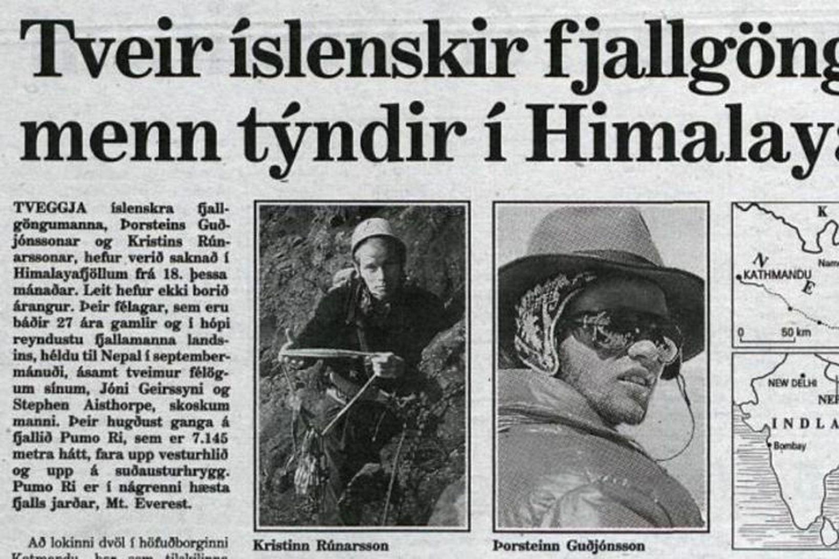 Þorsteinn Guðjónsson og Kristinn Rúnarsson voru í hópi reyndustu fjallamanna …