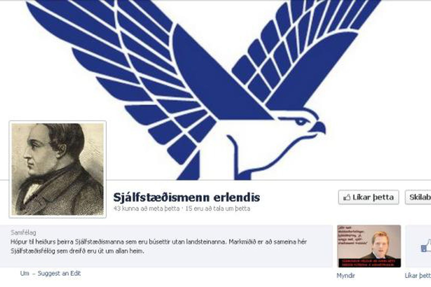 Ein af þeim síðum sem birtar hafa verið á Facebook …