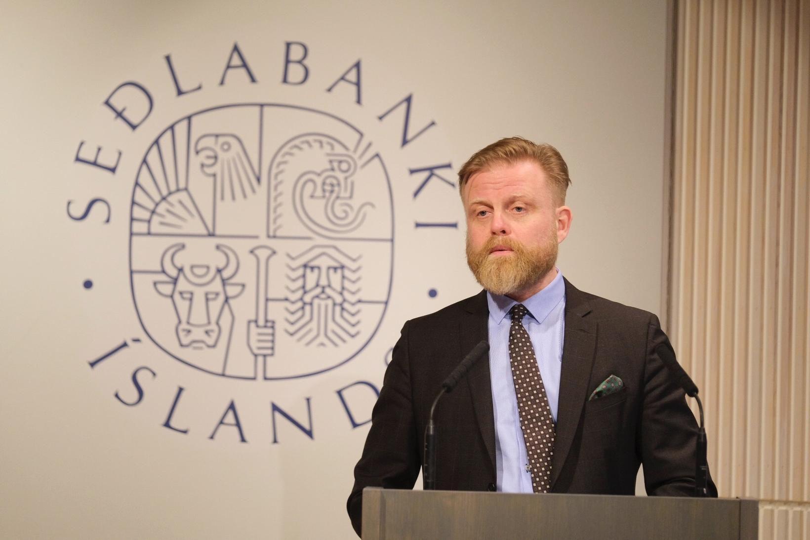 Ásgeir Jónsson seðlabankastjóri á fundinum í morgun.