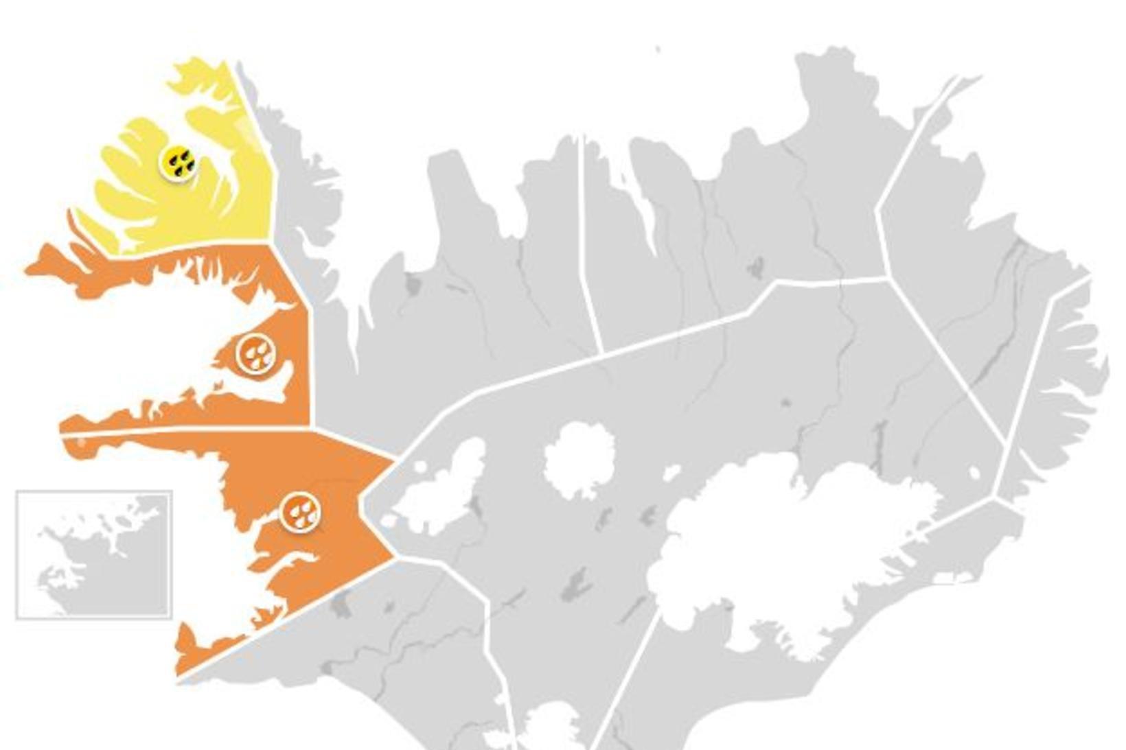 Appelsínugul viðvörun er í gildi á Faxaflóa og í Breiðafirði. …