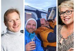 Bjarni Ármannsson, Auddi og Sveppi og Helga Möller skemmtu sér á mismunandi hátt úti á …