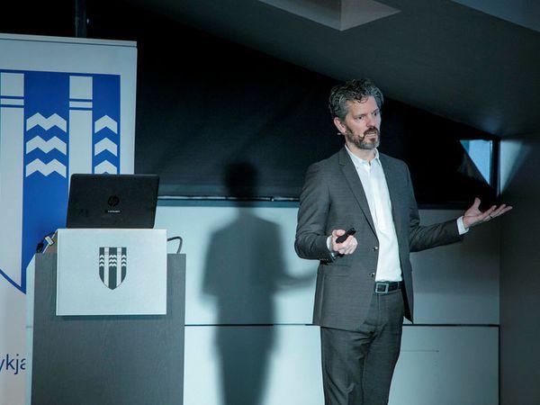 Mayor Dagur B. Eggertsson  presented ideas for new housing this morning at the City Hall in Reykjavik.