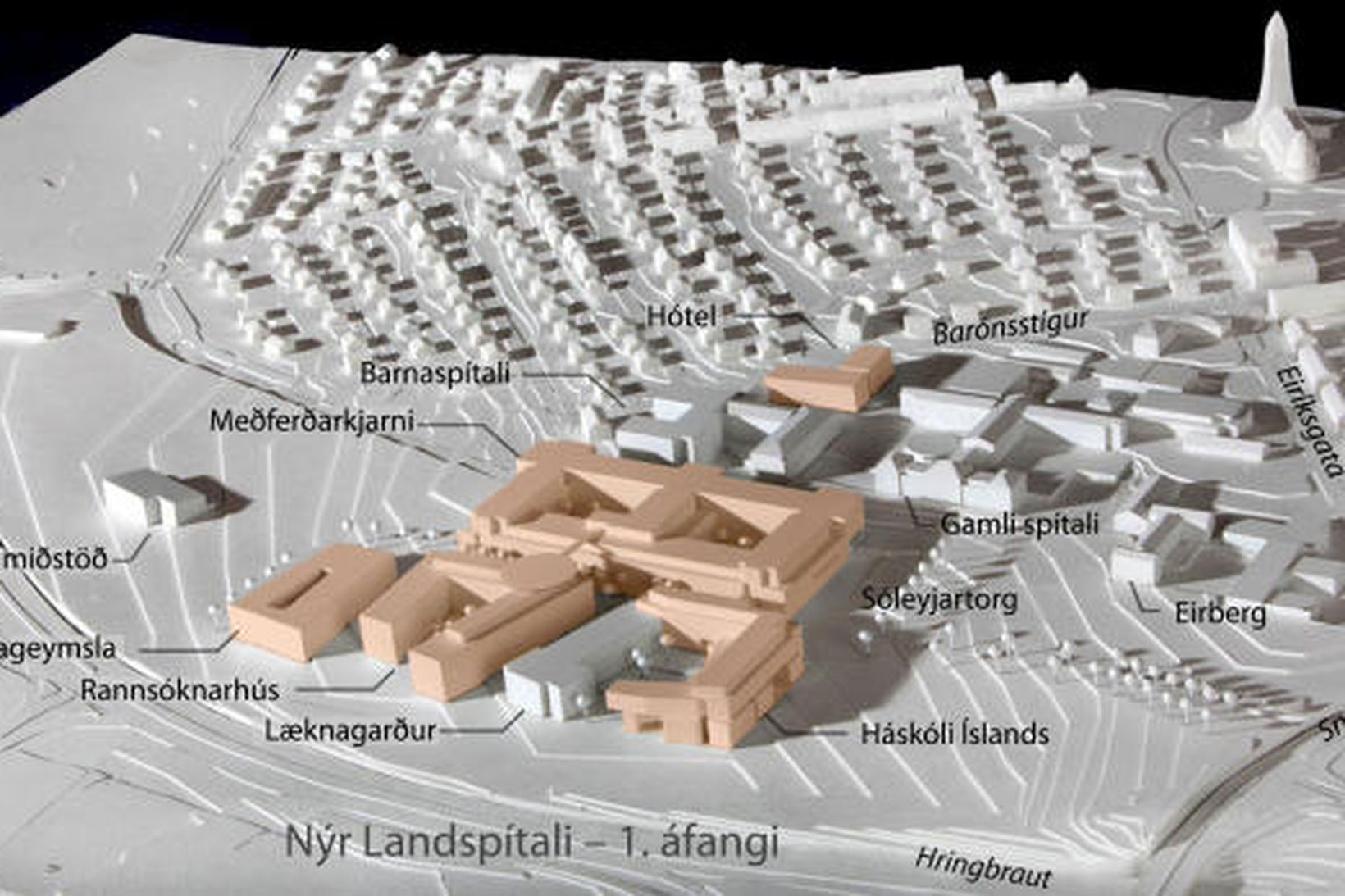 Vinningstillaga SPITAL, módelmynd af 1. áfanga Nýs Landspítala við Hringbraut.