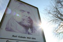 Mynd af Kurt Cobain í heimabæ hans Aberdeen í ríkinu Washington árið 2014.