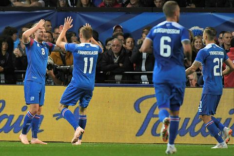 Birkir Bjarnason and his fellow team members rejoice after the first goal last night.