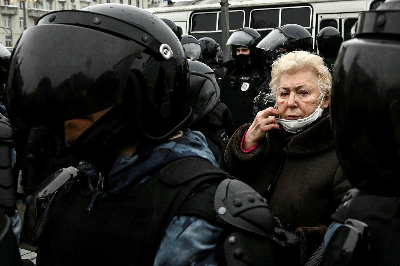 Frá mótmælum gegn Pútín Rússlandsforseta í Moskvu um helgina.