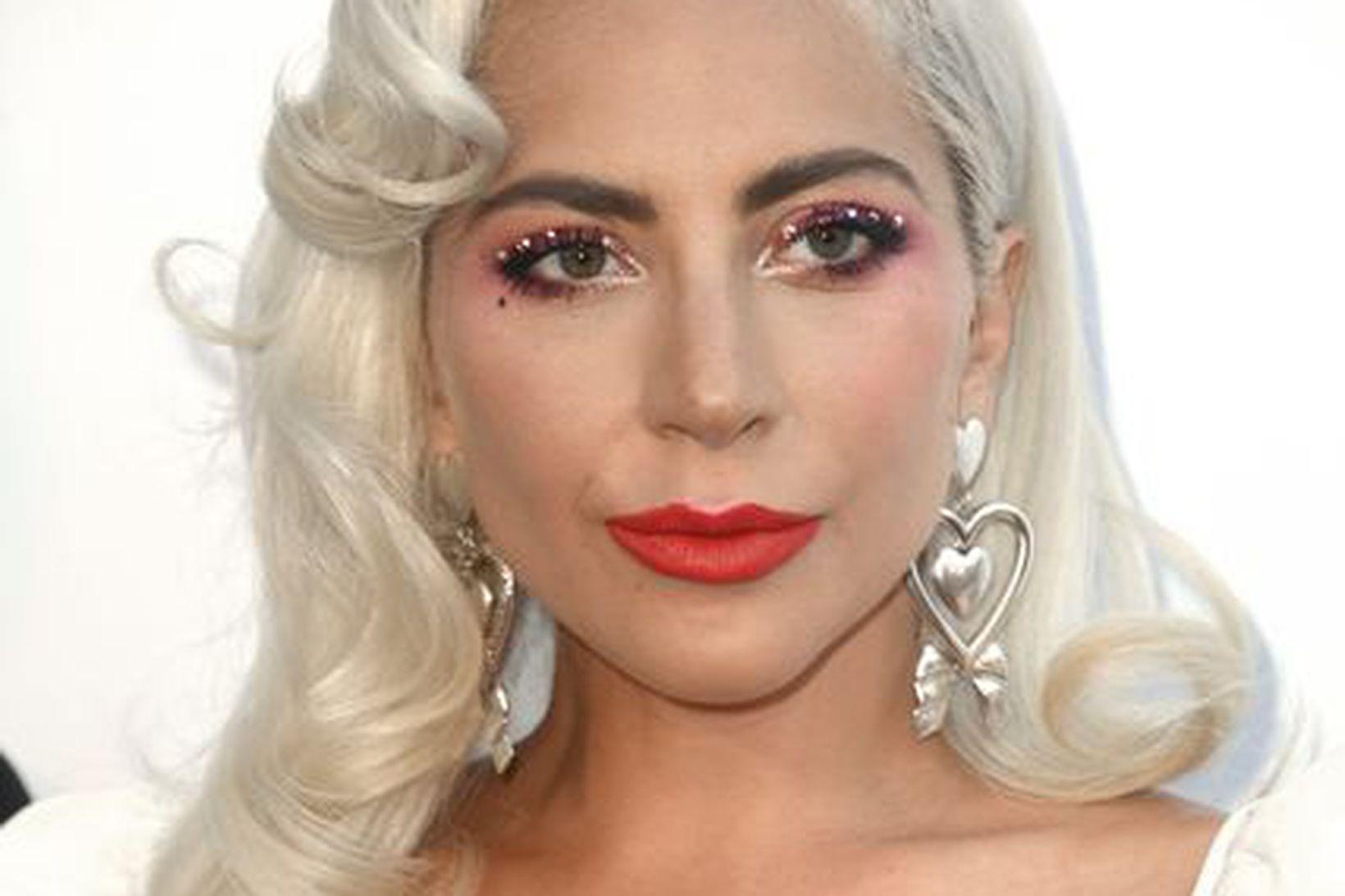Lady Gaga flaug fram af sviðinu í örmum aðdáanda.