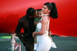 Travis Scott, Stormi Webster og Kylie Jenner. Jenner hefur áhuga á að stækka fjölskyldu sína ...