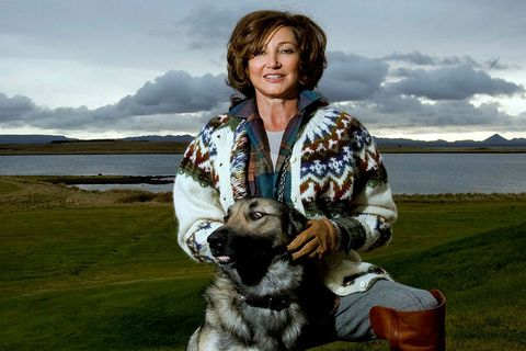 Former First Lady Dorrit Moussaieff with former First Dog Sámur, an Icelandic sheepdog.Sámur will become the first Icelandic pet to be cloned.