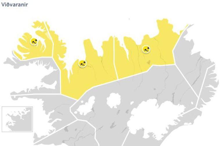 Gul viðvörun er í gildi á Vestfjörðum og Norðurlandi.