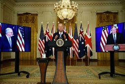 Forsætisráðherra Ástralíu, Scott Morrison, forseti Bandaríkjanna, Joe Biden, og forsætisráðherra Bretlands, Boris Johnson, kynntu Aukus …