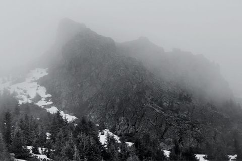 The photo shows Izvorul Calimanului in the Carpathian Mountains - an empty mountain top where Bram Stoker imagined his Castle Dracula to be located.