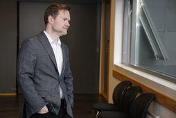 Ari Brynjólfsson, blaðamaður Fréttablaðsins, við fyrirtöku í ágúst.