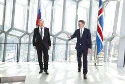 Sergei Lavrov ásamt Guðlaugi Þór Þórðarsyni í Hörpu.