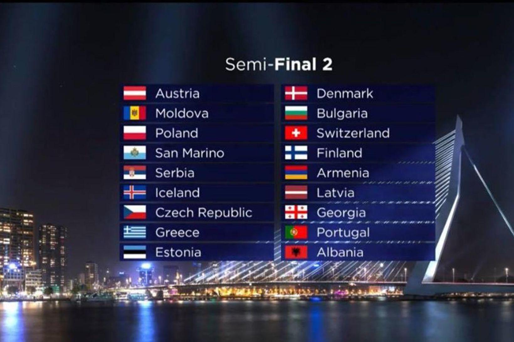 Ísland tekur þátt í seinni undanriðli Eurovision í Rotterdam í …