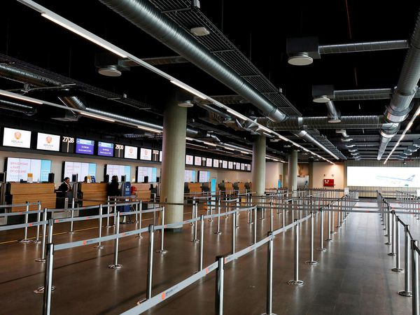 Keflavík International Airport looks deserted.