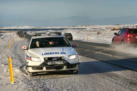 A police vehicle on the Reykjanes road on the southern peninsula.