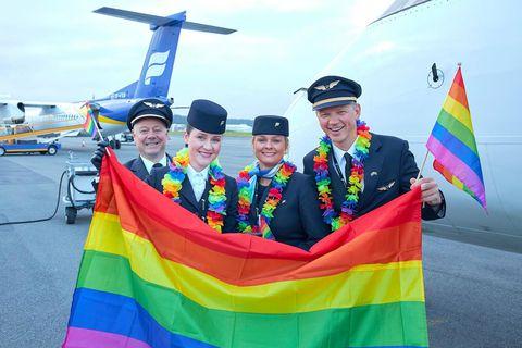 Fjölbreytileikanum var fagnað um borð í vélum Icelandair í vikunni.