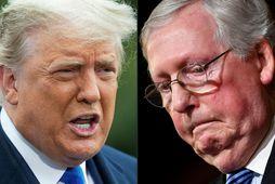 Donald Trump, fyrrverandi Bandaríkjaforseti, hefur ekki miklar mætur á samflokksmanni sínum, Mitch McConnell.