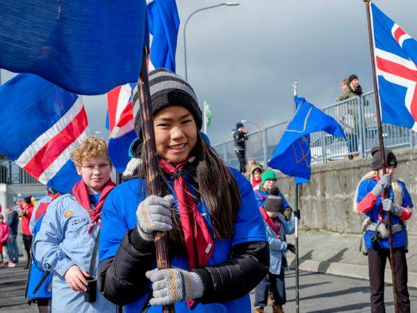 A parade on Sumardagurinn fyrsti, the first day of summer.