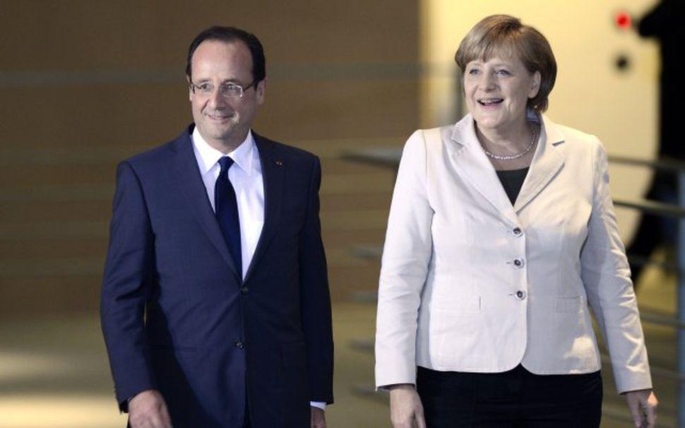 Forseti Frakklands, François Hollande og Angela Merkel, kanslari Þýskalands