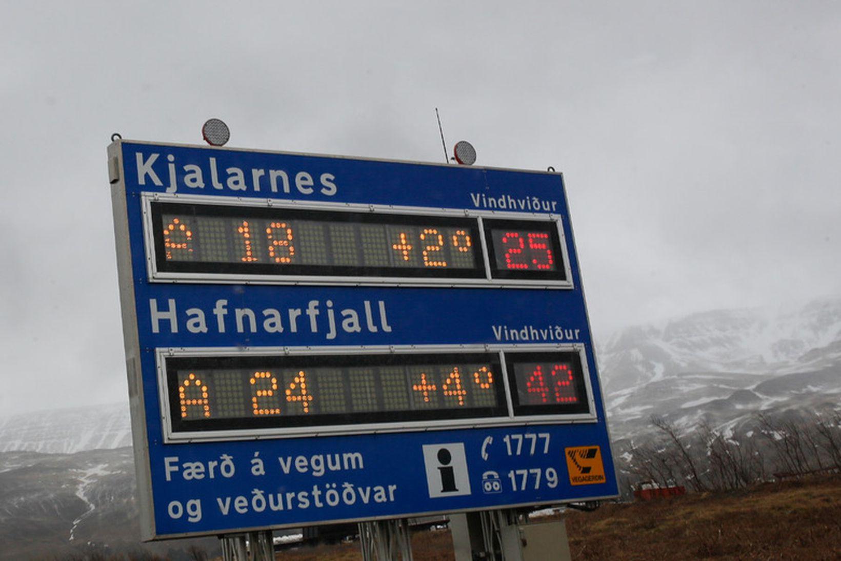 Vindhviða undir Hafnarfjalli mældist 71 m/s í morgun.