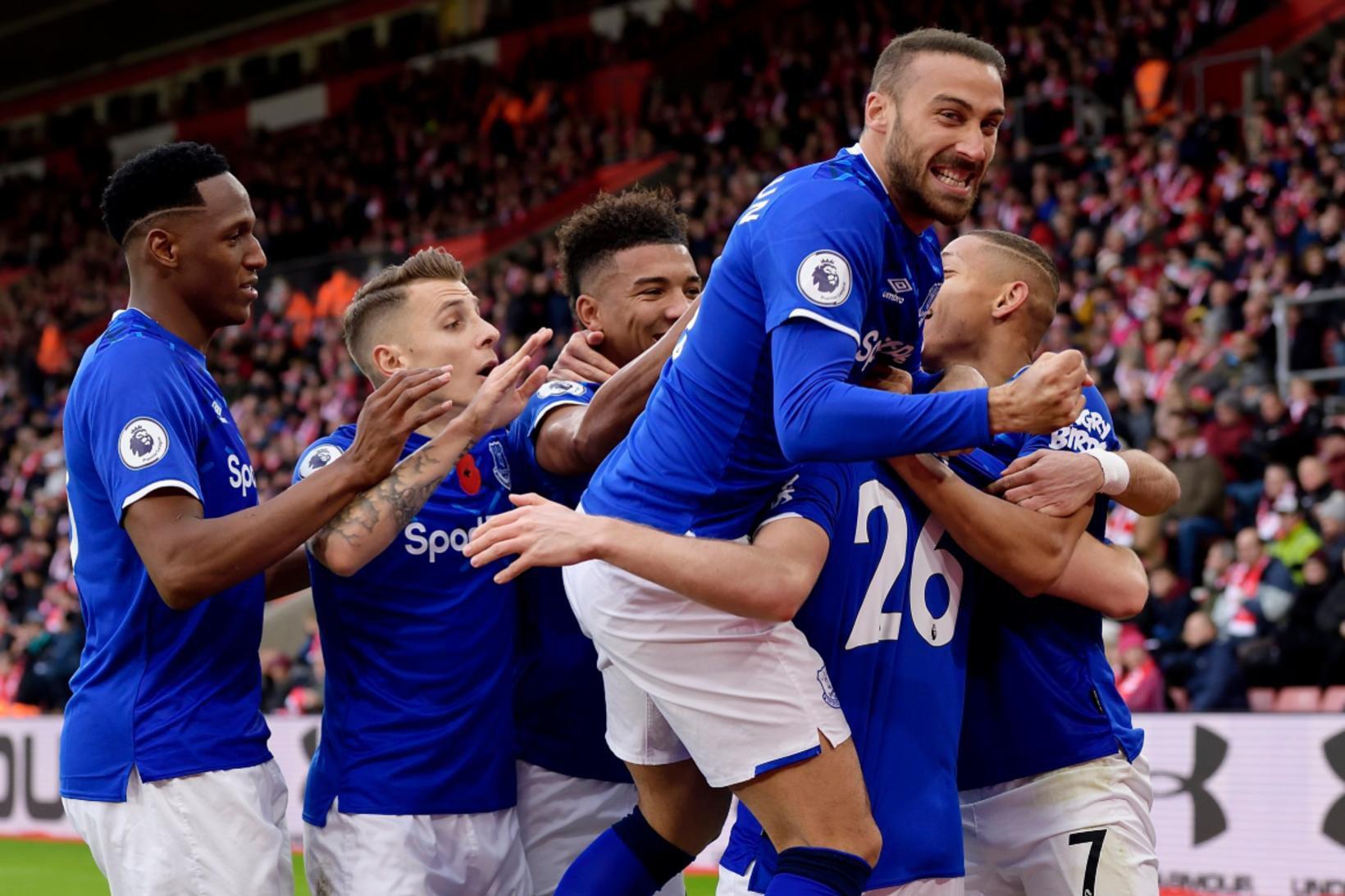 Everton-menn fagna vel og innilega í dag.