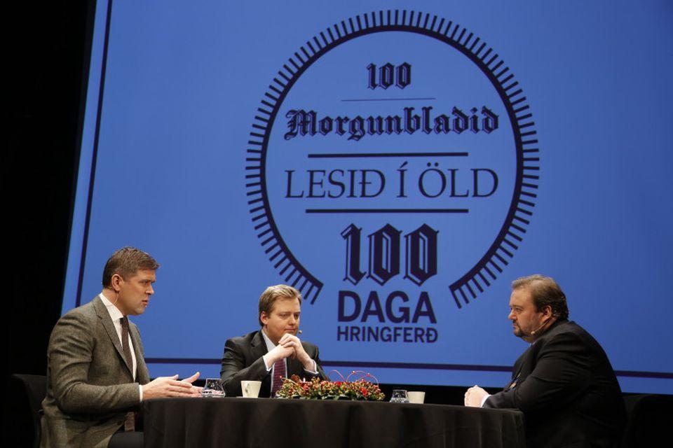 Haraldur Johannessen ritstjóri Morgunblaðsins, ræðir við Sigmund Davíð Gunnlaugsson forsætisráðherra og Bjarna Benediktsson fjármálaráðherra