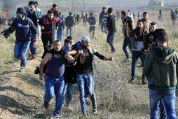 Palestínskir mótmælendur bera á milli sín einn mótmælanda sem særðist í átökunum sem kom til …