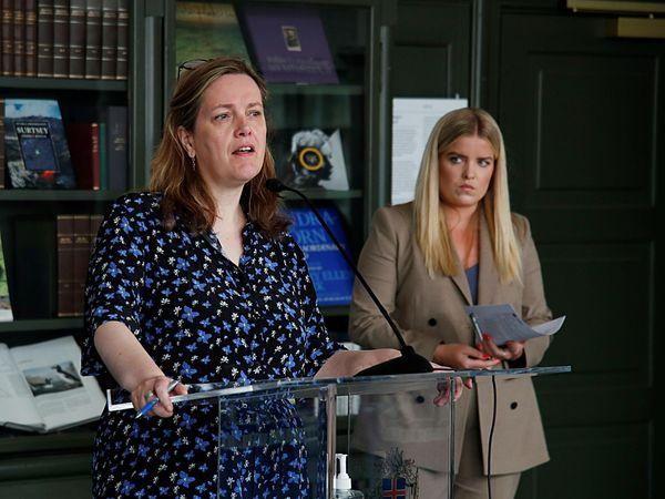 Minister of Health Svandís Svavarsdóttir and Minister of Justice Áslaug Arna Sigurbjörnsdóttir.