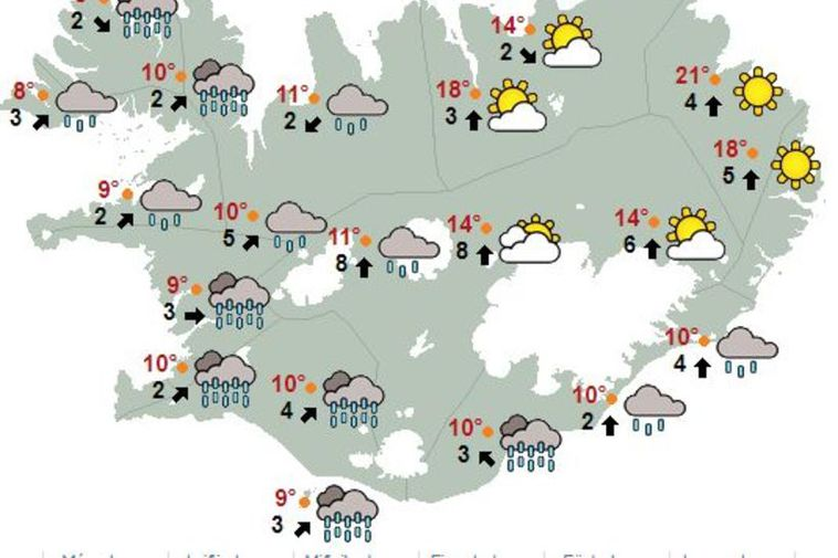 Typical weather map for Iceland from June 29th, showing rain in the west and south ...