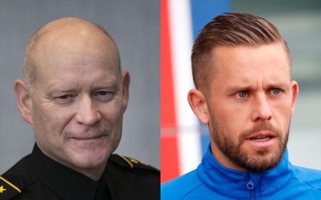 Karl Steinar Valsson, yfirlögregluþjónn alþjóðasviðs ríkislögreglustjóra, og Gylfi Þór Sigurðsson knattspyrnumaður.