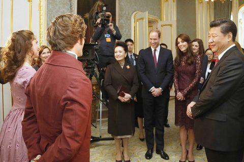 President Xi Jinping, his wife Peng Liyan, Prince William and Kate Middleton meet Heiða Rún Sigurðardóttir (far left) at Lancaster House.