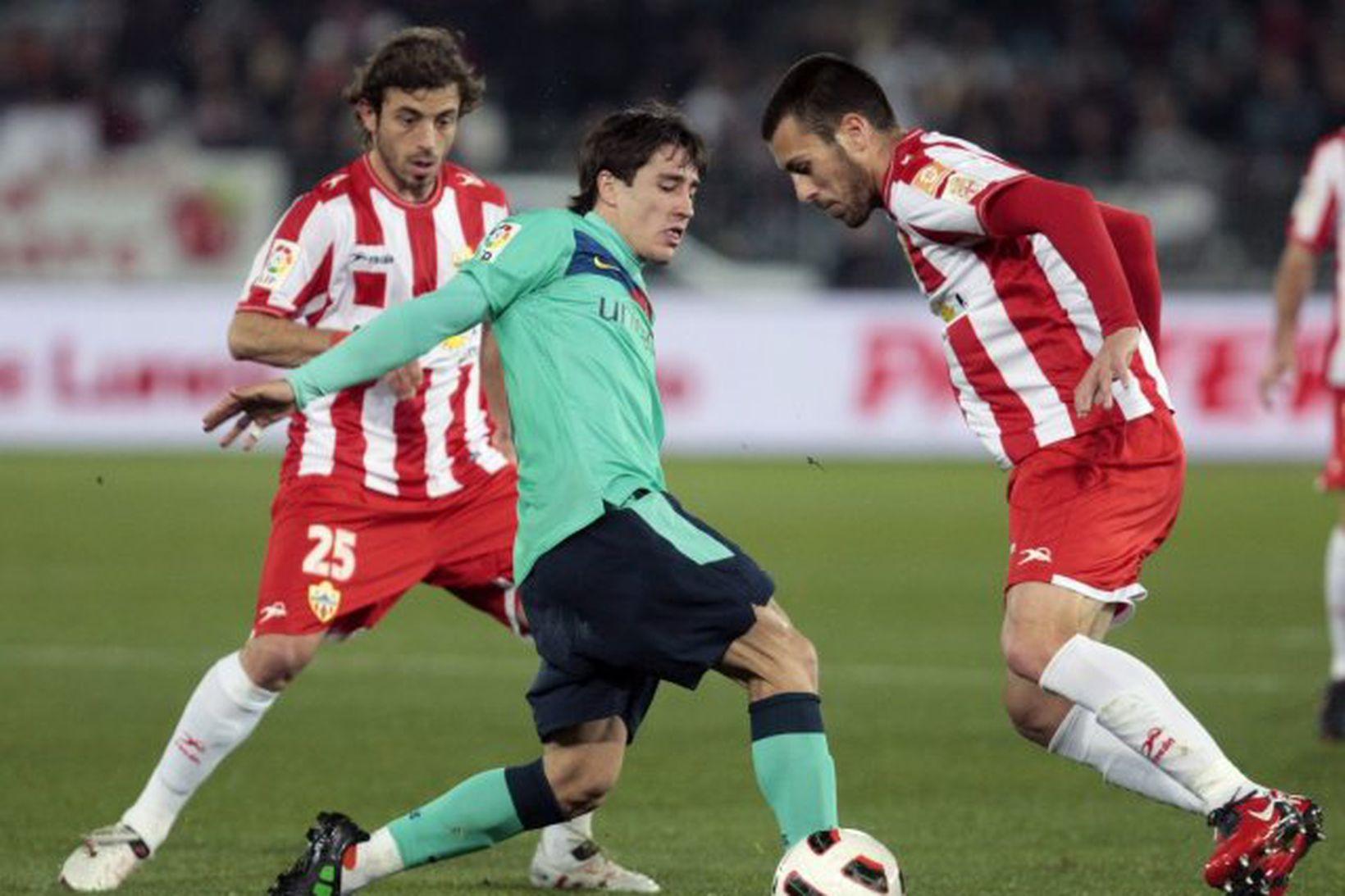 Bojan í leik með Barcelona gegn Almeria.