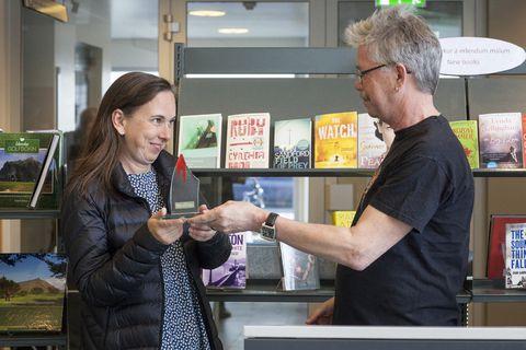 Sigurðardóttir receiving her award yesterday.
