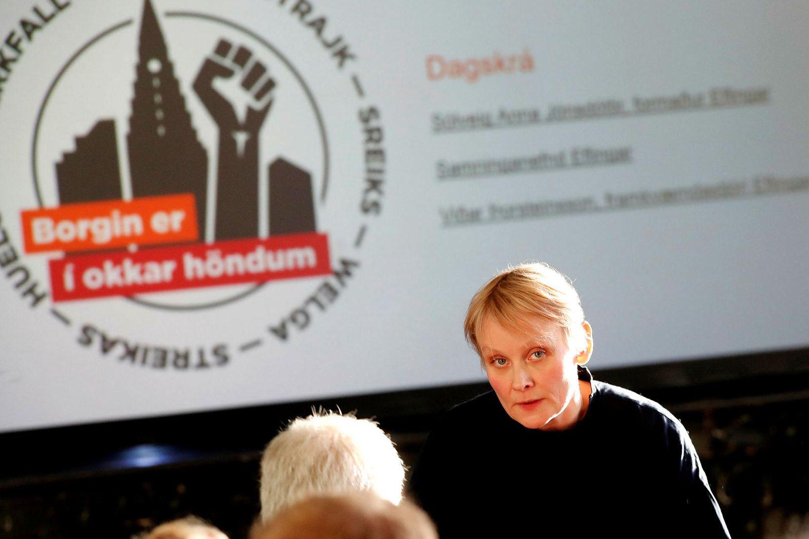 Sólveig Anna Jónsdóttir, formaður Eflingar, hér stödd á opnum fundi …