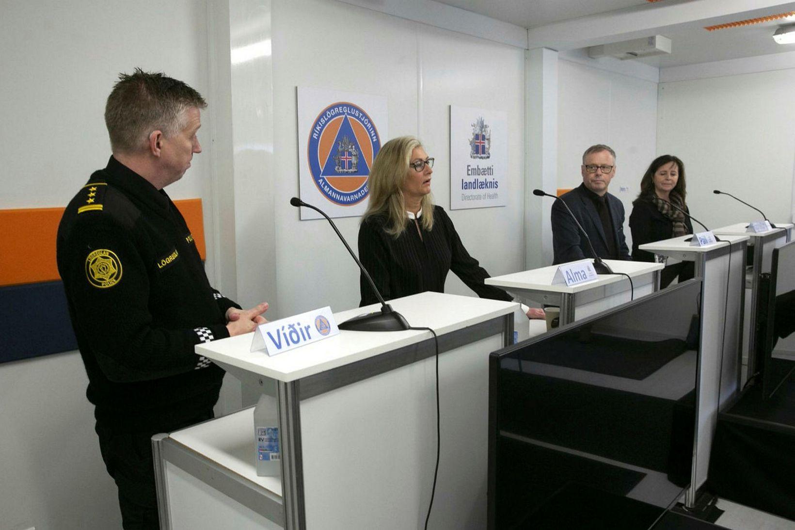 Víðir Reynisson, Alma Möller, Páll Matthíasson og Ragnheiður Ósk Erlendsdóttir.