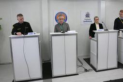 Víðir Reynisson, Þórólfur Guðnason, Alma Möller og Ævar Pálmi Pálmason á fundinum í dag.