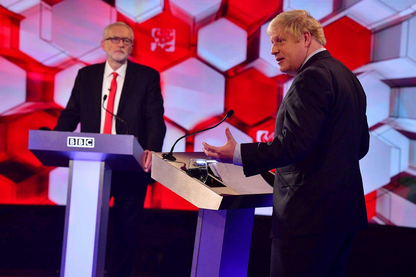 Jeremy Corbyn og Boris Johnson í kappræðum BBC fyrir kosningar. …