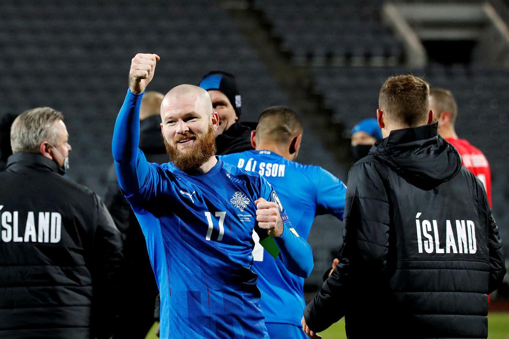 Aron Einar Gunnarsson hefur verið fyrirliði íslenska karlalandsliðsins frá 2012.