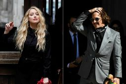 Amber Heard og Johnny Depp á lokadegi réttarhaldanna í London í dag.