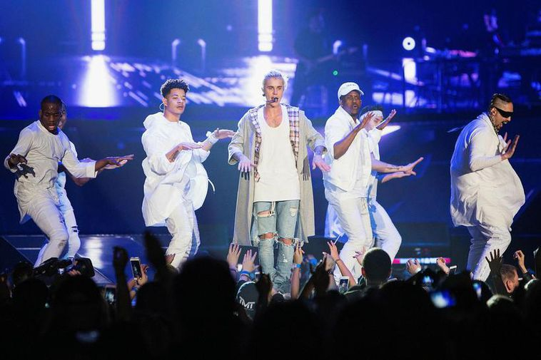 Justin Bieber performing in Seattle on his Purpose concert tour.