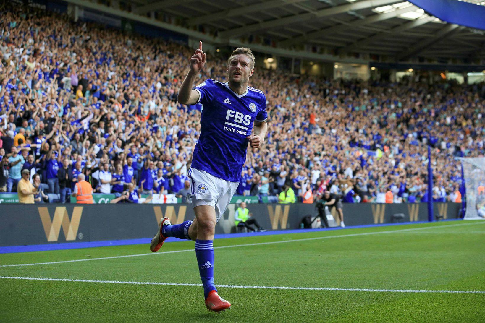 Jamie Vardy kom mikið við sögu í leik Leicester City …