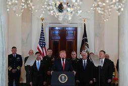 Donald Trump Bandaríkjaforseti flytur ávarp í Hvíta húsinu.