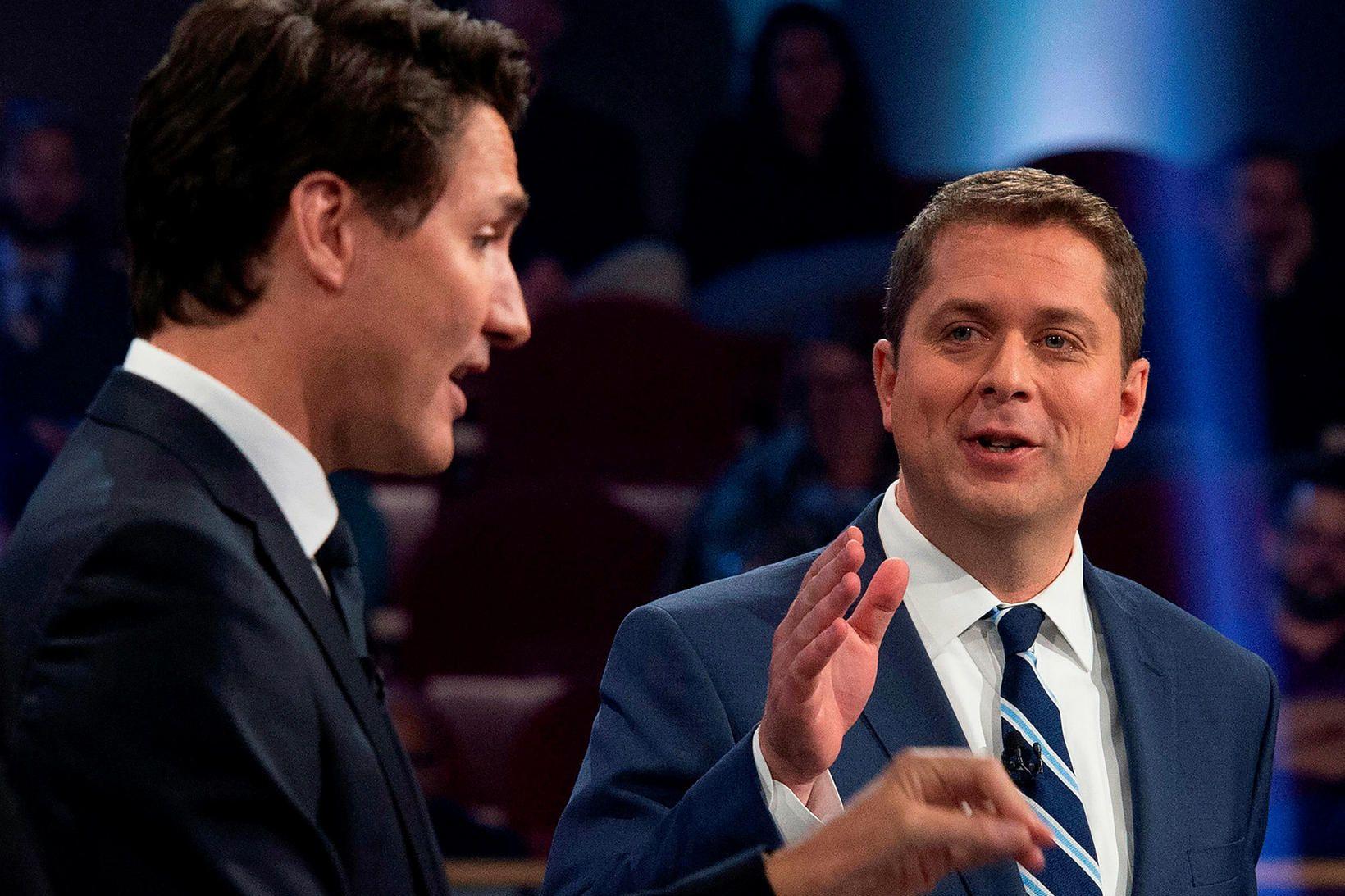 Justin Trudeau, forsætisráðherra Kanada og leiðtogi Frjálslynda flokksins, og Andrew …